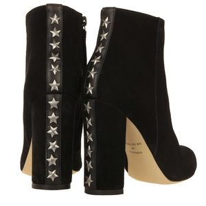 Black Suede Studded Heeled Ankle Booties